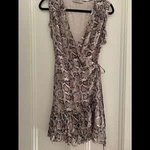 All Saints Ruffle Dress in Snake Print, Size Small